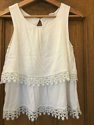 H&M Girls Age 8-9 Years White Summer Top