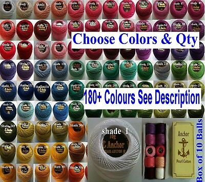 10 Anchor Pearl Perle Cotton Crochet embroidery thread balls 220 + Colors choose