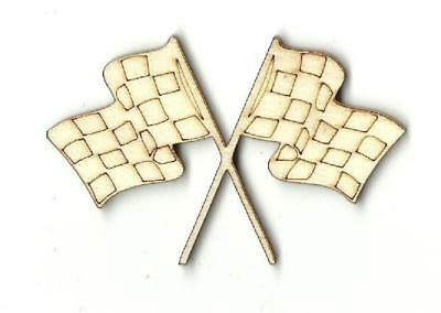 Crossed Checkered Race Flags - Laser Cut Wood Shape CAR10