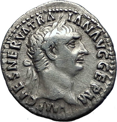 TRAJAN  98AD Authentic Genuine Ancient Silver Roman Coin PAX Peace i70345