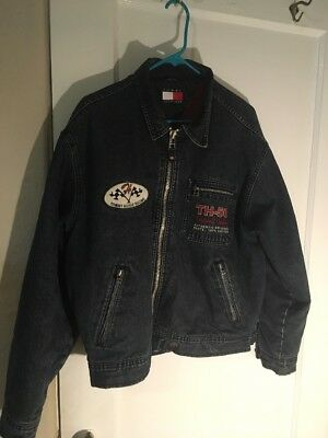 Vintage Tommy Hilfiger Denim Jacket Racing Motocycle Rider 90s Spell Out M RARE