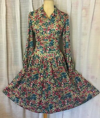 AMAZING VINTAGE 50s-60s FLORAL TEA DRESS 14-16 GORGEOUS! ONE OF A KIND!