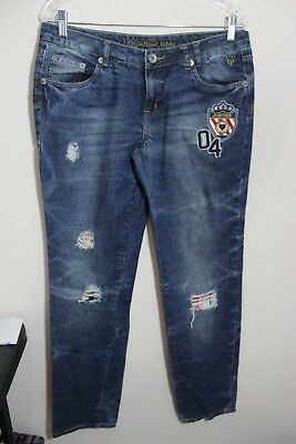 JUSTICE - GIRLS JEANS -SIZE 18 1/2 - SUPER LOW / PATCH DESIGN (c)