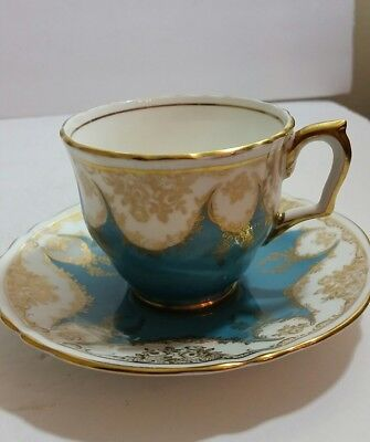 Crown Staffordshire Fine Bone China Teal Tea Cup and Saucer England