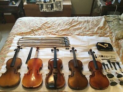5 Violins, 6 Bows, misc parts for repair and restoration
