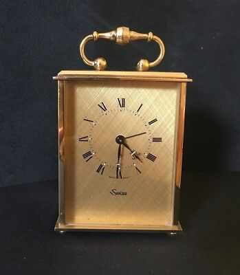 Vintage Swiza Clockwork Brass Alarm Clock 8 Day Movement GWO Swiss Made Antique