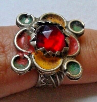 Medieval METAL COLOR SILVER Ring with Red Stone. Jewelry, Artifact