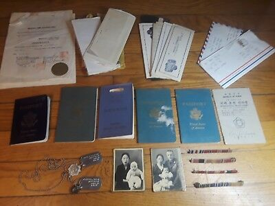 VINTAGE RARE REPUBLIC OF KOREA PASSPORTS U.S. ARMY Kids DOG TAGS WWII Film LOT