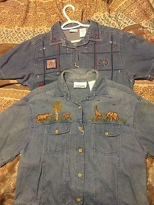 lot of two denim short sleeve womens size large tops