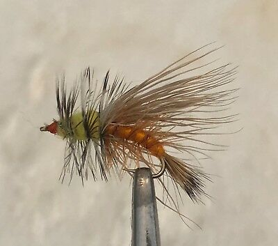 STIMULATOR ORANGE FLY FISHING DRY FLIES - 6 x SIZE #10