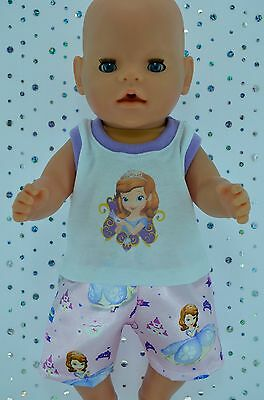 """Play n Wear Doll Clothes To Fit 17"""" Baby Born PJ'S~SATIN BOXER SHORTS~SINGLET"""