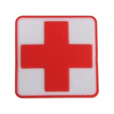 Outdoor First Aid PVC Red Cross Hook Badge Patch F7U2