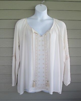 5d86dca5586d09 Knox Rose Womens Ivory & Gold Embroidered Peasant style Shirt Blouse Top XXL  2X
