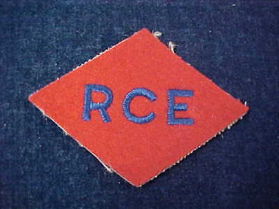 """Orig WW2 Cloth Patch """"RCE"""" Canadian 1st Corps Royal Canadian Engineers"""