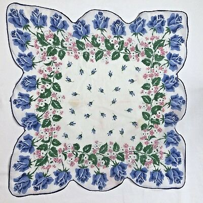Vintage Ladies Hanky Handkerchief Scalloped Novelty Floral Print
