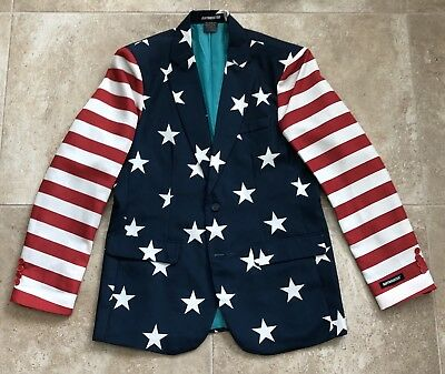Patriotic SUITMEISTER American Flag Blazer - Size 38-40 (Medium) USA! JULY 4TH!