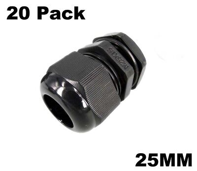 25mm Nylon Cable Gland Glands Electrical IP68 Waterproof Black 20 Pack