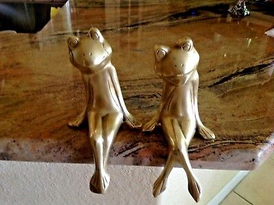 Vintage Pair of Solid Brass Heavy 3 LBS Large 10''Tall Sitting Frogs