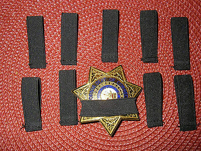"Law Enforcement Badge Mourning Bands Black 1/2"" Ten Pack"