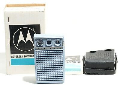Vintage Motorola XP40EL 6  Pocket Transistor Radio w/ Box & Case WORKING!