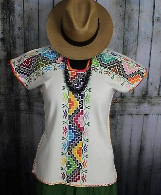 Michoacan Blouse Hand Embroidered & Woven Mexico, Frida Kahlo Hippie Boho Style