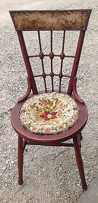 Antique Victorian Parlor Side Chair Ball & Stick Dainty Ladies Piano Desk VTG