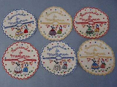Antique Majorca Spain Embroidered Set of 6 Wine Glass Coasters Stemware