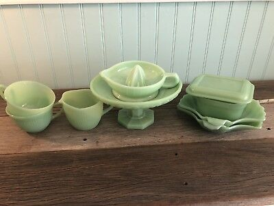 vintage JADITE glassware lot Of 12pieces Including Mixing bowls And Plate Stand