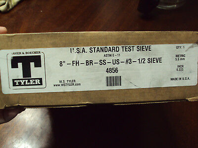"""New old stock in box Tyler test sieve 4856 8"""" 0.223"""" USA"""