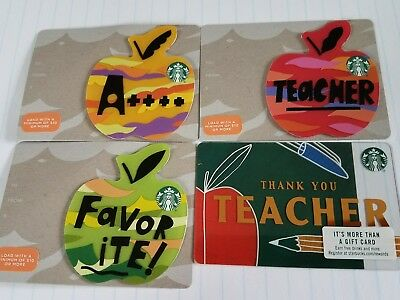 Starbucks Thanks Teacher Set Of Four 2018 Gift Cards.