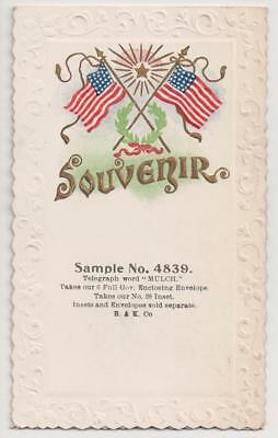 Sample Trade Card :: Embossed Patriotic w/American Flags