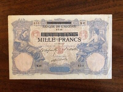 T65 Tunisia 1000 Francs on 100 P-31 German Occupation Banknote 1942 Currency