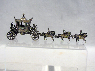 Antique 800 STERLING SILVER MINIATURE HORSE DRAWN CARRIAGE WITH CHERUBS