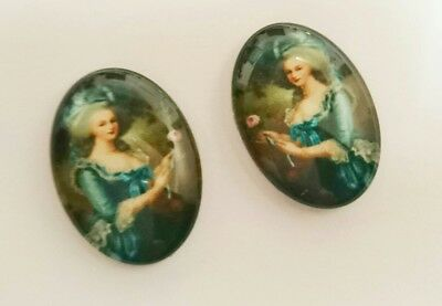 A PAIR OF HANDMADE LADY MARIE ANTOINETTE EDWARDIAN STYLE GLASS CABOCHON 25x18mm