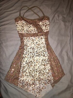 A Wish Come True Gold Sequin Dance Dress Solo Costume Medium Adult