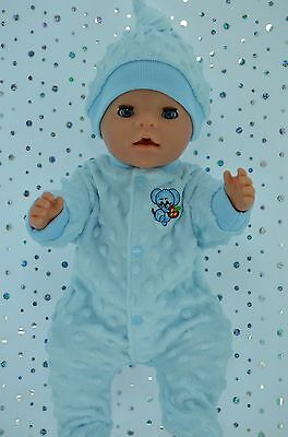 "Play n Wear Doll Clothes For 17"" Baby Born BLUE MINKY STRETCH AND GROW~HAT"