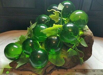 Vintage Mid Century GREEN Colored Acrylic Lucite Grape Cluster LARGE Driftwood