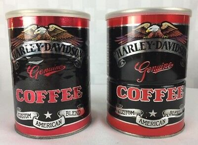 "Barista Lot of 2 Genuine Harley Davidson ""Bikers Brew"" Coffee Cans VTG 1990s"