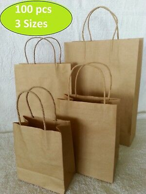 100 x KRAFT Brown Paper Carry Bags with Handle/Reusable/Shopping Bags/Gift Bags