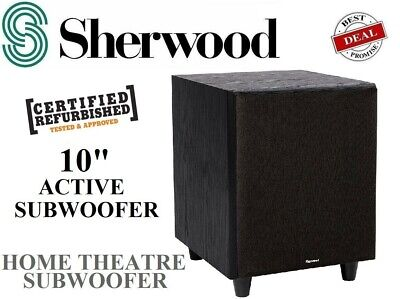"Sherwood 10"" 10SW Amplified Active Sub Subwoofer Home Theatre Powered - NEW"