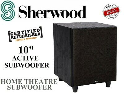 "Sherwood 10"" SW10 Amplified Active Sub Subwoofer Home Theatre Powered - NEW"