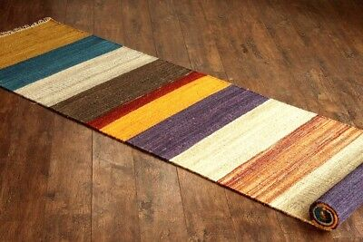 Taluche Handmade 300 cm Long Multi-Coloured Striped Pure Wool Hallway Runner Rug