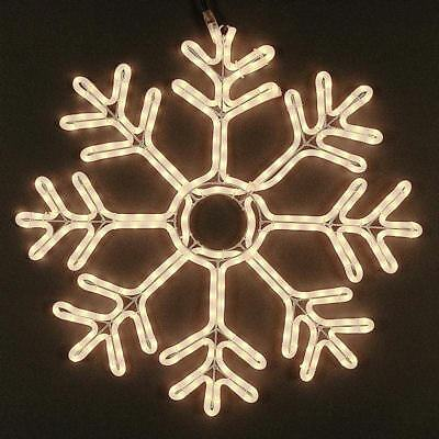 """36"""" Deluxe Christmas Snowflake Incandescent Rope Light Sculpture, Frosted White"""