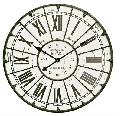 Wooden Large Metal Frame Wall Clock Rustic French Provincial Luxury Art