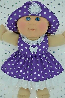 "Play n Wear Doll Clothes To Fit 14"" Cabbage Patch  PURPLE POLKA DOT DRESS~HAT"