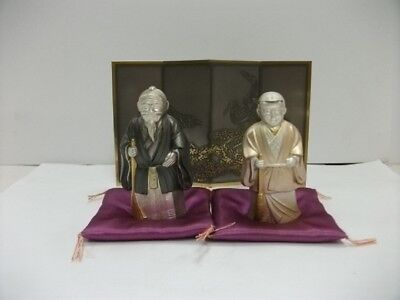 Takasago doll of the silver. Folding screen.#60g/ 2.11oz.Japanese Antique