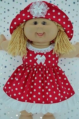 "Play n Wear Doll Clothes To Fit 16"" Cabbage Patch  RED POLKA DOT DRESS~HAT"