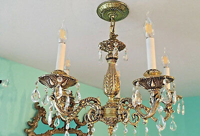 "Gold 5 Arm and Light Vintage DesignArt Crystal Chandelier 21.0"" D x 37"" H adj."