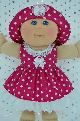 "Play n Wear Doll Clothes To Fit 14"" Cabbage Patch  HOT PINK POLKA DOT DRESS~HAT"
