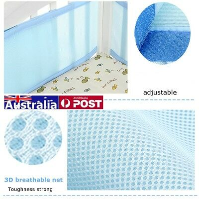 Blue Sweet Dreams Breathing Space Infant Baby Air Pad Cot Bumper Mesh Protection